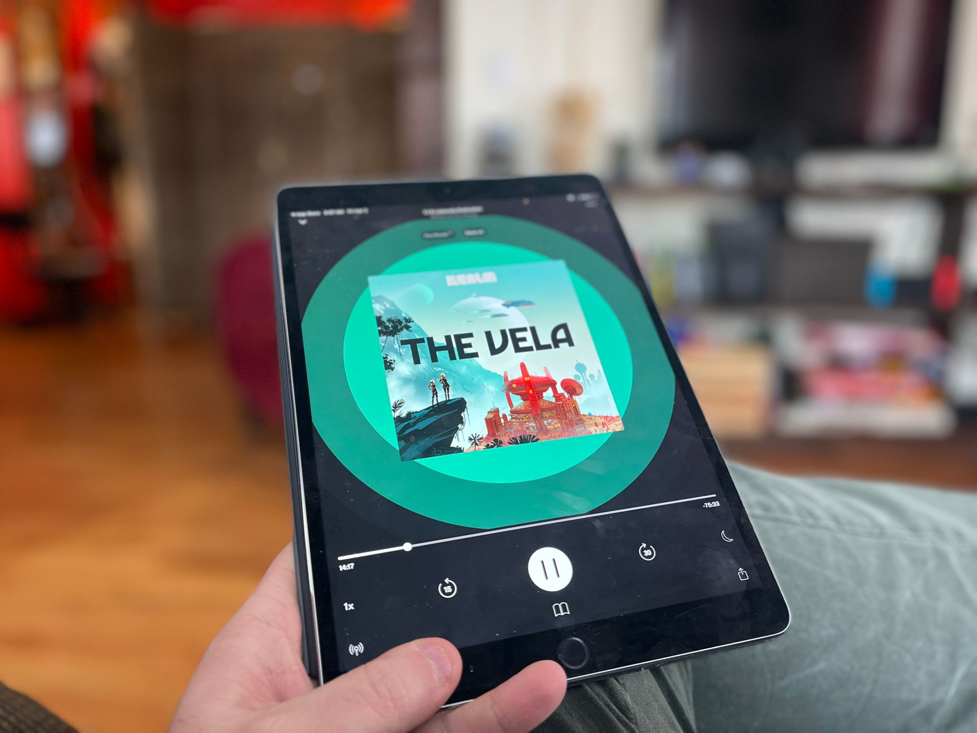An iPad displays The Vela in Realm's app